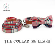 pink plaid  collar and leash set with bow tie  matel buckle  cotton fabric  dog &cat necklace and dog leash  pet accessaries
