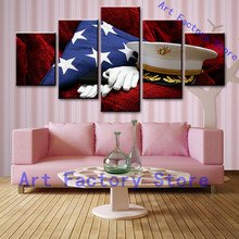 HD Printed 5 piece American flag canvas art usa wall painting pictures for living room modern(China)