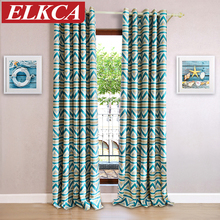 1 PC Blue Striped Printed Blackout Curtains for Living Room Modern Window Curtains for the Bedroom Kids Curtains for Children(China)