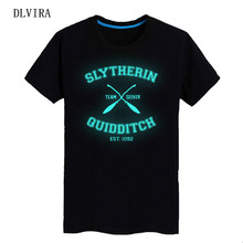 DLVIRA 2017 New S-XXXL European and American couple cotton SLYTHERIN QUIDDITCH letter printing Luminous T-shirt