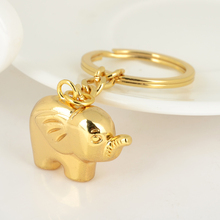 Novelty Ethnic 3D Elephant Keychain Keyring Fashion Gold Animal Metal Key Chain for Women Bag Phone Charms Pendant Jewelry(China)