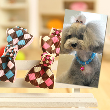 30pcs/lot doggy cute grid hairpin dogs cats fashion Christmas grooming headdress puppy hair clip pet dog cat products headwear