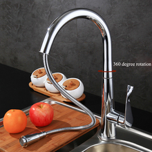 "New Design Pull Out Kitchen Faucet 360 Rotating Chrome kitchen Sink Mixer Tap Brass Faucets Hot Cold With G1/2"" Pipe"