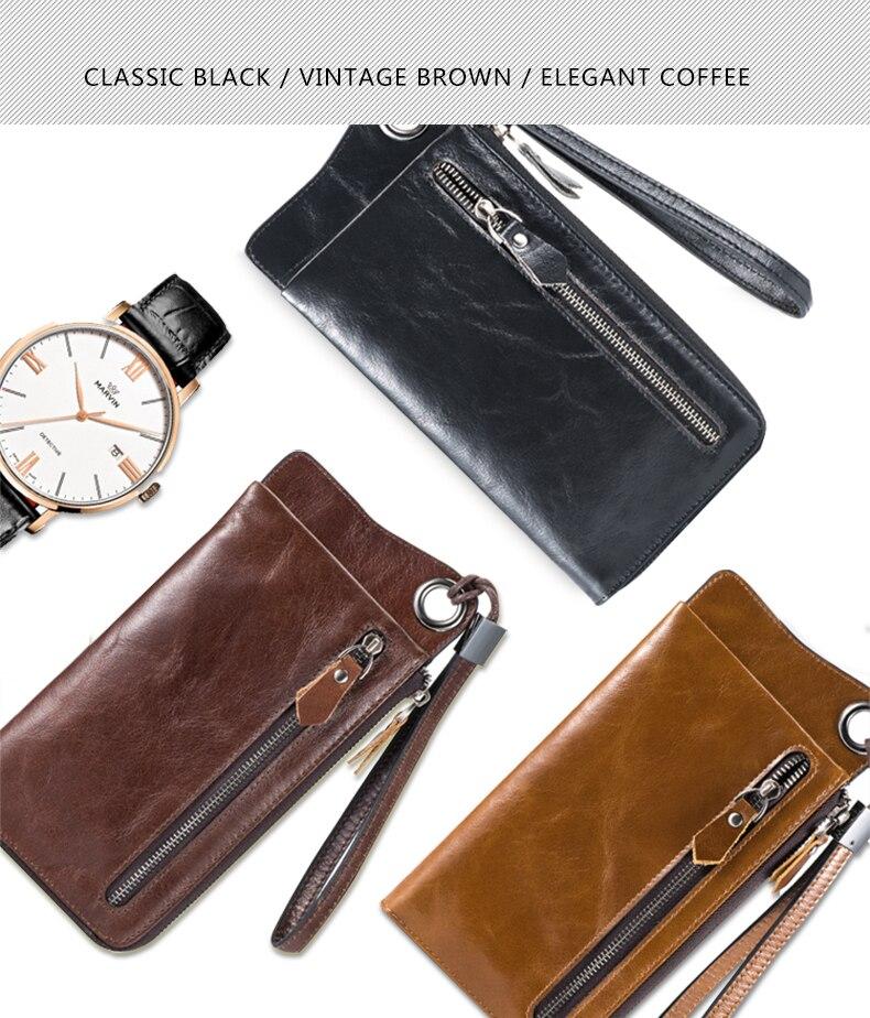 LUENSRO Wallet Leather Vintage Wallets Men Genuine Leather Wallet Zipper Card Holder Purse Long Coin Purse Money For iPhone7S (4)