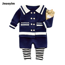 2017 New Autumn Navy Style Kids Clothing Sets Stripe Buckle Design Children Top Tees & Pants Set Boys Girls Fashion Clothes(China)