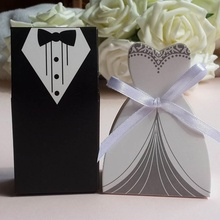 High Quality 50 Pcs Tuxedo Dress Groom Bridal Wedding Party Favor Gift Ribbon Candy Boxes Practical Useful gift bags(China)