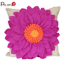 Creative Pillow Case Cotton Linen Blue Handmade Big Flower Three-dimensional Pillow Covers 45x45cm Home Decorative Pillowcases