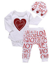 Autumn Spring Newborn Infant Baby Girl Love Heart Long Sleeve Romper+Letter Long Pants hat 3pcs Outfits Set Clothes