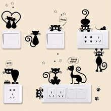 % 9 pcs black cat cartoon animals fish footprint vinyl switch phone wall stickers bathroom home decoation kids room bedroom diy(China)