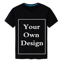 Free Customized 100% Cotton Men's T shirt  Logo Print Your Own Design High Quality Black t-shirts Men's Tops Free Shipping