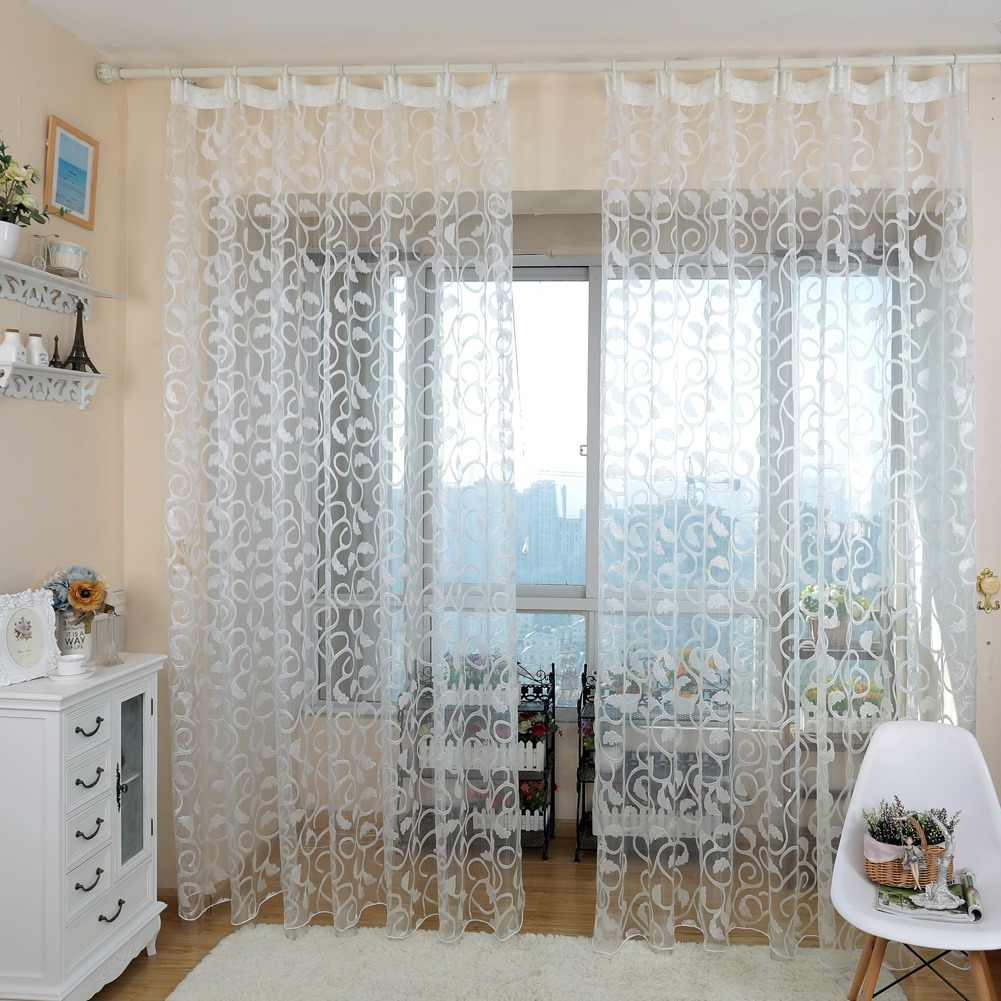 NAPEARL American style jacquard floral design window curtain sheer for bedroom tulle fabric living room modern ready made short