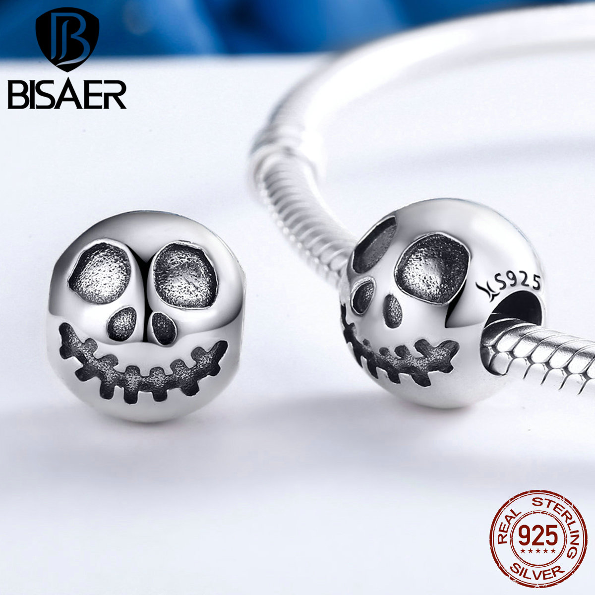 100% 925 Sterling Silver Rock Skull Ghost Face Bead Charms Fit Original BISAER Bracelets Women jewelry Accessories berloques