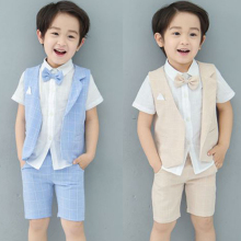 Baby Boy Set 2017 Summer New Arrives Formal Wear Thin Section Soft Short Shirt + plaid Waistcoat Shorts Kids 3PC Clothing Set