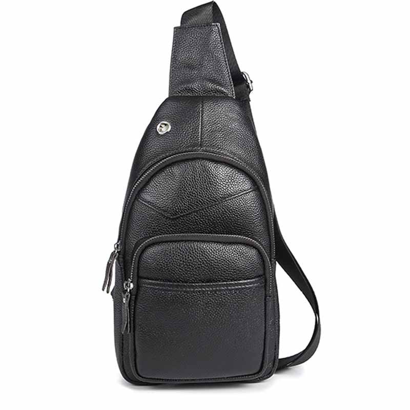 Genuine Leather Mens Crossbody Bag Men Messenger Bags Zipper Leather Litchi Grain Chest Pack Waist Small Belt Bag Male BF-A2022<br>