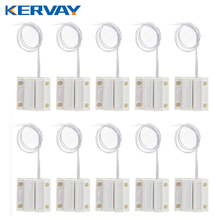 10pcs Wired Door Window Sensor Magnetic Switch Home Alarm System Detector(China)