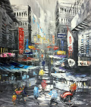 Hand Painted Oil Painting on Canvas Cityscape Hong Kong Trams Street  Knife Canvas Painting  Wall Art Picture for Living Room