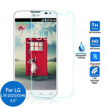 0.26mm Screen Protector High quality 2.5D 9H Tempered glass film For LG L70 D325 Dual Sim