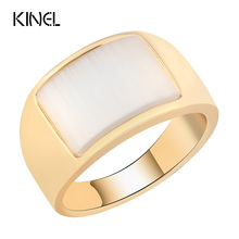Kinel Luxury Unique Opal Ring For Women Gold Color Punk Jewelry Fashion Simple Retro Wedding Ring Christmas Gift