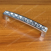 Length 105mm Hole Pitch 96mm silver Dresser Drawer knobs Cabinet pulls Furniture crystal Glass handle Bar(China)