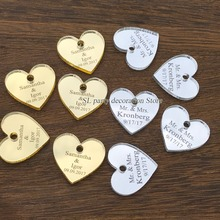 50/100pcs Personalized Mr & Mrs Mirror Love Heart Wedding Favors Table Decorations 25mm with hole in center(China)