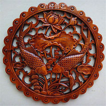 ART ! CHINESE HAND CARVED FLOWER FISH STATUE CAMPHOR WOOD PLATE WALL SCULPTURE*