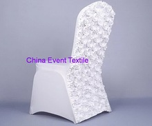 10pcs White lycra chair cover Rosette chair back Lycra Cover  for Weddings Events &Banquet &Party Decoration