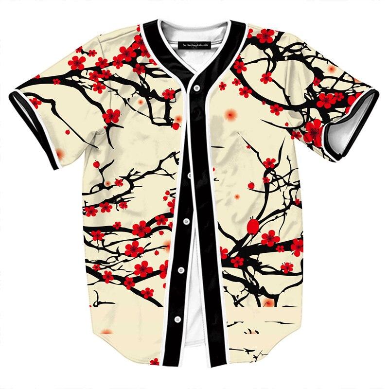 Summer Style Hipster Hip Hop tee Shirt Men Women 3D Floral Print T-shirt Baseball Jersey Street Casual V-neck Buon Down Tops