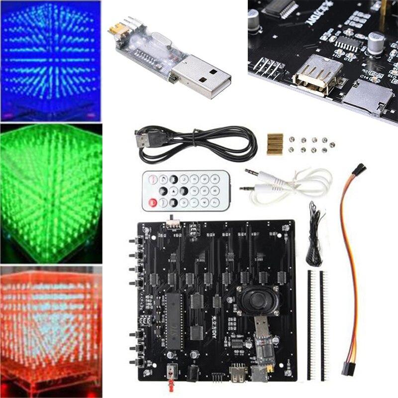 New 1Set 8x8x8 LED Cube 3D Light Square Blue LED Electronic DIY Tool Kit Gift<br>