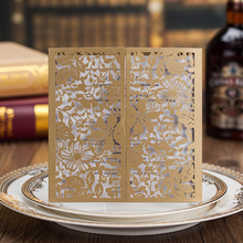 2017 New Arrival Gold Flowers Wedding Invitations Card Laser Cut Invitation Card With Insert Paper Blank Card Envelope For Party