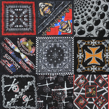 2017 New Fashion Hip Hop 100% Cotton Skull Bandana Square Scarf Black Paisley Bicycle Headband Printed For Women/Men/Boys/Girls(China)