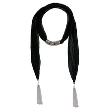 2015 Lureme Hot Sale Fashion womens Black Tassel Floral Jewelry Pendant Scarf Necklace Lady Cotton Necklaces Scarves Wholesale