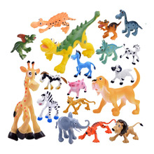 6Pcs/Set Rubber Wild Animal Figure Toys Farm Cartoon Animals Models Simulation   Park Dinosaur Models Kid Learning Toys