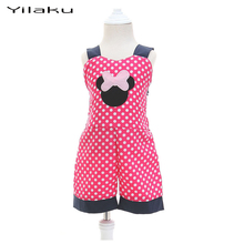 Minnie Girls Jumpsuit Children Cartoon Mouse Clothing Sets Summer Kids Clothes Suit Toddler Girl Polka Dot Clothing CF136(China)