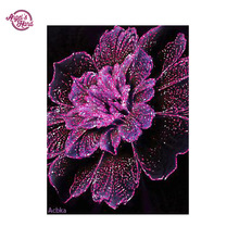 ANGEL'S HAND full diy diamond painting 3D embroidery diamond embroidery round diamond purple flower canvas diamond picture(China)