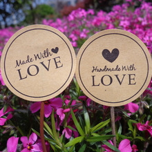 102pcs Handmade with love Seal sticker Kraft paper Sealing sticker DIY Gifts posted/Baking Decoration label(China)