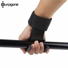 1pc New Adjustable Strong Steel Hook Grips Straps Weight Lifting Strength Training Gym Fitness Black Wrist Support Lift Straps