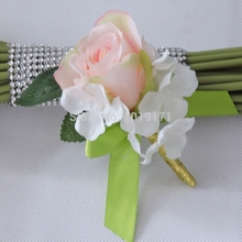 Party Handmade Prom Artificial Rose Hydrange Corsages Flower Boutonniere Pin Wedding Church Decor Marriage Champage FL928