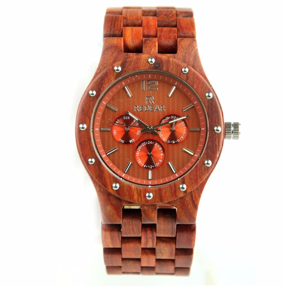 REDEAR Mens Watch Red Sandalwood Wrist Watch Japan Movement Quartz Watch Fashion Rivet Watch Case <br>