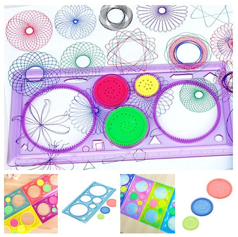 1PC Kids Learning Creative Drawing Tool 20*10cm Children Spirograph Geometric Ruler Stationery For Student Drawing Random Color