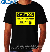 Cheap T Shirts Online Crew Neck Men Cotton Short Sleeve Caution Angry Gamer Video Game Over Computer Shirts(China)