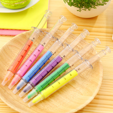 6 Pcs / Pack, New Novelty Highlighter Pen Stationery Syringe Highlighter Fluorescent Needle Tube Watercolor Nite Writer Pen