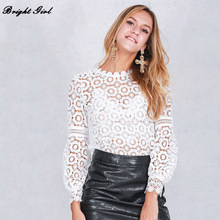 BRIGHT GIRL Long Sleeve Tops Womens Clothing Casual Tee Shirts chiffon blouse shirt  Hollow Out Open Shoulder Lace White Blouse