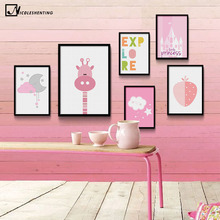 NICOLESHENTING Cartoon Giraffe Castle Minimalist Art Canvas Poster Painting Pink Wall Picture Modern Children Room Decoration