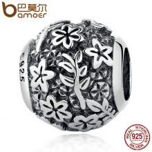 BAMOER 2017 Spring Collection 925 Sterling Silver Flower Grass Round Bead Charms fit Bracelets & Necklaces Accessories PSC040(China)