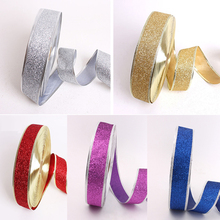 2016 Merry Christmas Ribbon Decoration For Home X-mas Supplies Ribbon Roll Grosgrain Wired Printed Set 5cmx10m Red Gold Silver