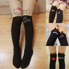 Children clothes Kids Girls Leggings Cute Pantyhose Lovely Cartoon hello cat bunny kitty Tattoo Velvet Stocking Child leg warmer(China)