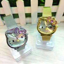 Stainless Steel Cute Watches Children Watch Hello Kitty Cartoon Baby Clock Gifts  Korean Tide Time For Lady Girls Womens