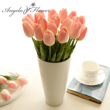 Free shipping 21PCS/LOT pu mini tulip flower real touch wedding flower artificial flower silk flower home decoration hotel party(China)