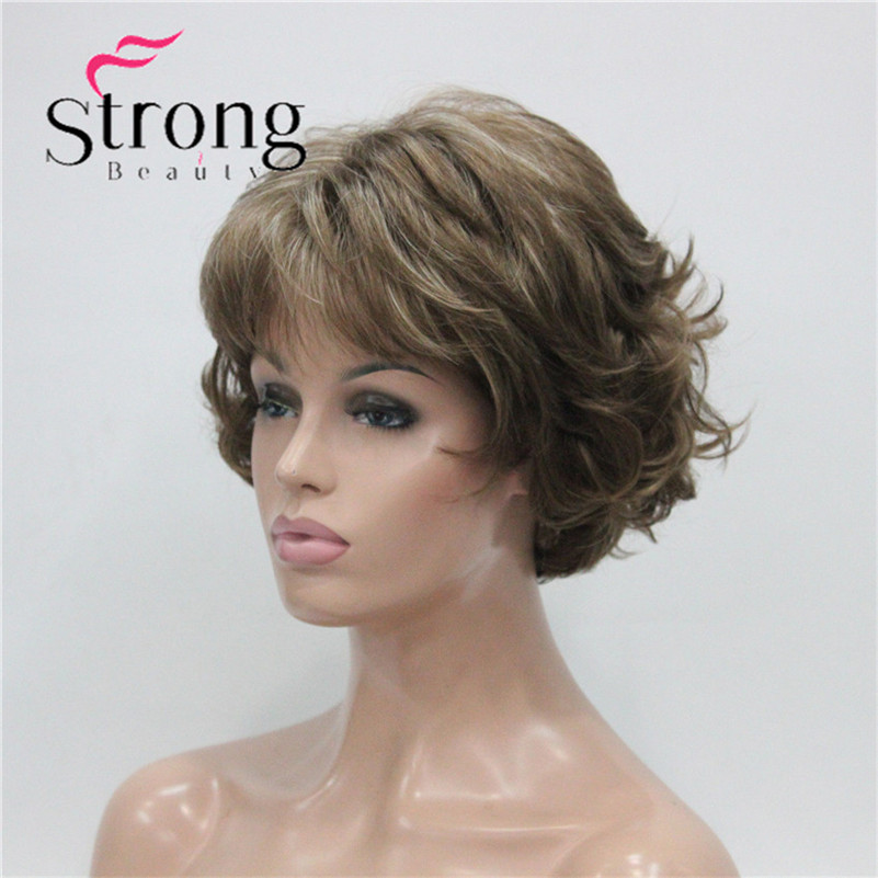 E-7125 #12TT26 New Wavy Curly Wig Light Brown Mix Blonde Short Synthetic Hair Full Women's Wigs (2)