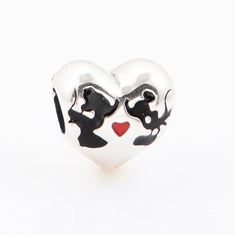 New Perles real 925 Silver Bead Charm Mickey &Minnie kiss believe in magic charms Pendant Bead Fit Pandora Bracelet women Gifts (4)